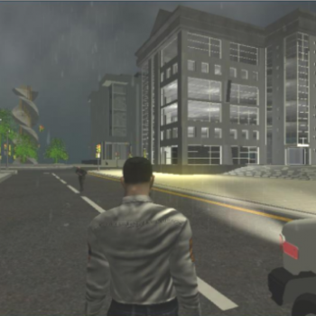 Figure from third person perspective walking in simulation