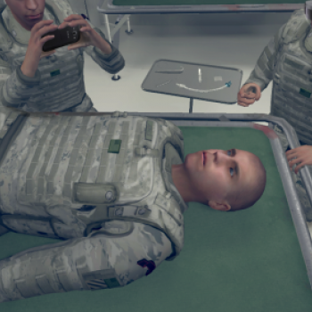 Figure of military person laying on medical table